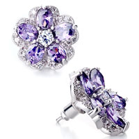 Earrings - flower february birthstone purple crystal stud earrings Image.