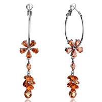 Earrings - hoop november birthstone topaz crystal flower dangle oval cluster drop earrings Image.