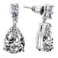 Earrings - april birthstone clear crystal round drop dangle earrings Image.