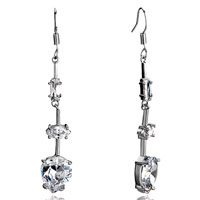 Earrings - april birthstone clear crystal rectangle oval inverted drop dangle earrings Image.