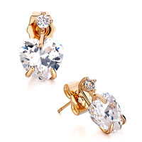 Earrings - golden april birthstone clear crystal heart stud earrings Image.