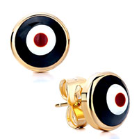 Earrings - golden round black white plexiglas eye stud earrings Image.
