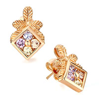 Earrings - golden leaf square colorful rhinestone crystal stud earrings Image.