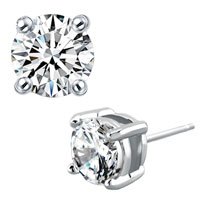 Earrings - clear white asscher cut cz cubic zirconia crystal stud earrings 4.13 mm Image.