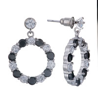 Earrings - april birthstone crystal dangle half clear black swarovski earrings Image.