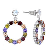 Earrings - colorful swarovski crystal hoop dangle earrings Image.