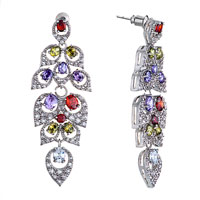 Earrings - colorful swarovski crystal leaf dangle earrings Image.