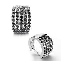 Earrings - fashion pave black crystal hoop glam earrings silver plated stud Image.