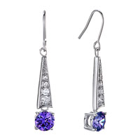 Earrings - triangle dangle purple february birthstone swarovski crystal earrings Image.