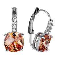 Earrings - classic november birthstone topaz swarovski crystal square earrings hoop Image.