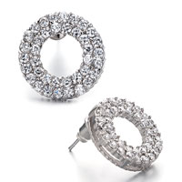 Earrings - classy clear april birthstone crystal hoop stud round shape earrings Image.