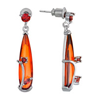 Earrings - light siam july birthstone swarovski crystal drop dangle earrings Image.