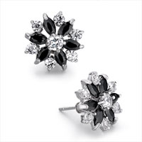 Earrings - white april birthstone black swarovski crystal flower stud earrings re Image.