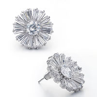 Earrings - sparkle white april birthstone crystal flower silver/ p stud earrings Image.