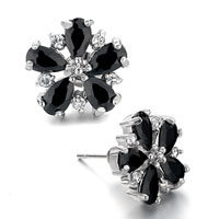 Earrings - black swarovski crystal flower stud earrings re Image.