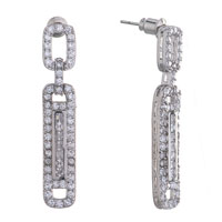 Earrings - small big rectangle april birthstone clear crystal dangle earrings Image.
