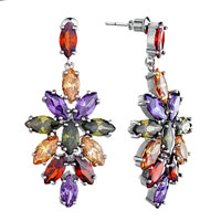 Earrings - fashion colorful crystals cluster dangle silver plated earrings Image.