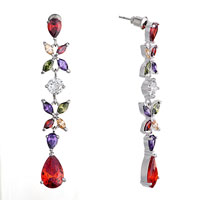 Earrings - fashion colorful crystals flower dangle hyacinth drop glam earrings Image.