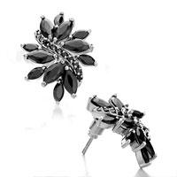 Earrings - fashion black crystal petal stud silver plated earrings for women Image.