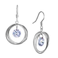 Earrings - fine april birthstone clear swarovski crystal hoop dangle sale earrings Image.