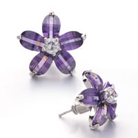 Earrings - february birthstone clear pistil amethyst crystal flower stud earrings Image.