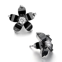 Earrings - clear pistil black crystal flower stud earrings Image.