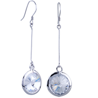 Sterling Silver Jewelry - white crystal silver circle earrings dangle 925  sterling Image.