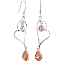 Sterling Silver Jewelry - heart june birthstone crystal earrings dangle 925  sterling silver Image.