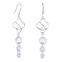 Earrings - flower white circle crystal earrings 925  sterling silver dangle Image.