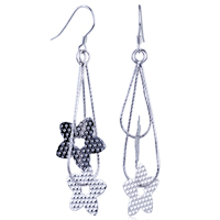 Earrings - flowers set in ring earrings 925  sterling silver dangle Image.