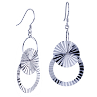 Sterling Silver Jewelry - hot flashing pattern round dangle earrings 925  sterling silver Image.