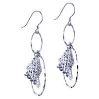 Sterling Silver Jewelry - square mesh round dangle earrings 925  sterling silver Image.