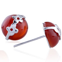 Earrings - flower red agate earrings 925  sterling silver stud Image.