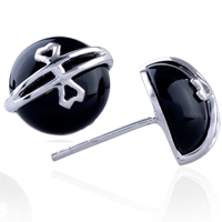 Earrings - hot heart celtic cross black agate earrings 925  sterling silver stud Image.