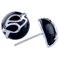 Earrings - drop black agate stud earrings 925  sterling silver Image.