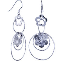 Sterling Silver Jewelry - pattern flower round earrings crystal dangle 925  sterling silver Image.