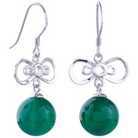 Earrings - lovely butterfly green agate silver plated hook earrings dangle Image.