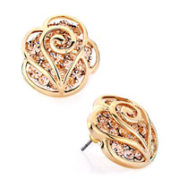 Earrings - 14 k gold plated flower light peach rhinestone crystal stud earrings Image.