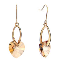 Earrings - golden oval light topaz cz crystal heart dangle dangle earrings Image.