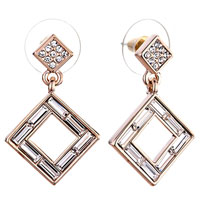 Earrings - fashion square clear crysal dangle april birthstone cz bars earrings Image.