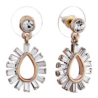 Earrings - april birthstone clear crystal bars waterdrop dangle fancy earrings Image.