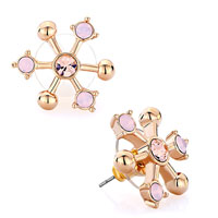 Earrings - snowflake water opal light peach rhinestone crystal stud earrings Image.