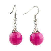 Earrings - stunning pink rose ball edges corners earrings for women gift Image.