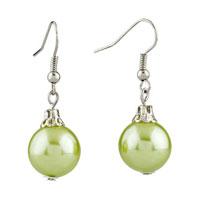 Earrings - resin pale green ball earrings for women Image.