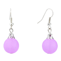 Earrings - fashion pale purple ball silver plated hook earrings for women Image.