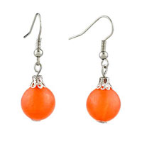 Earrings - fashion summer vacation orange resin ball earrings for women gift Image.