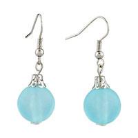 Earrings - pugsterpale blue ball dangle silver plated hook fancy earrings for women Image.