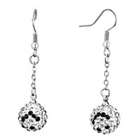 Earrings - disco ball pave clear crystal black smiling face dangle earrings Image.
