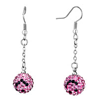 Earrings - disco ball pave rose pink crystal black smiling face dangle earrings Image.
