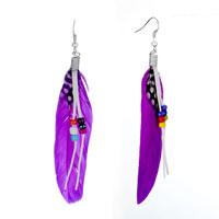Earrings - fluttering purple feather earrings Image.